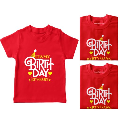 It's-My-Birthday,-Let's-Do-Party-With-Gand-T-Shirt-Red
