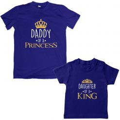 King-Daddy-&-Princess-Daughter-Family-Combo-T-Shirt-Blue