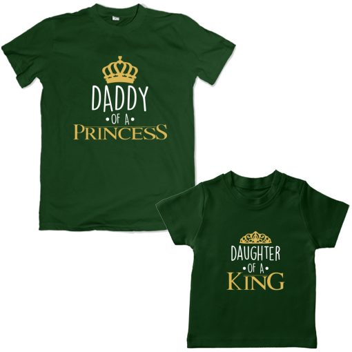 King-Daddy-&-Princess-Daughter-Family-Combo-T-Shirt-Green