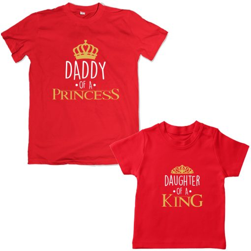 King-Daddy-&-Princess-Daughter-Family-Combo-T-Shirt-Red