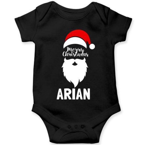 Merry-Christmas-Baby-Romper-Half-Sleeve-Black