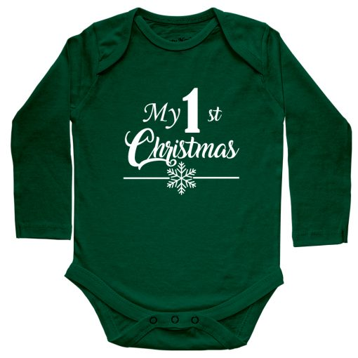 My-1st-Christmas-Baby-Romper-Green