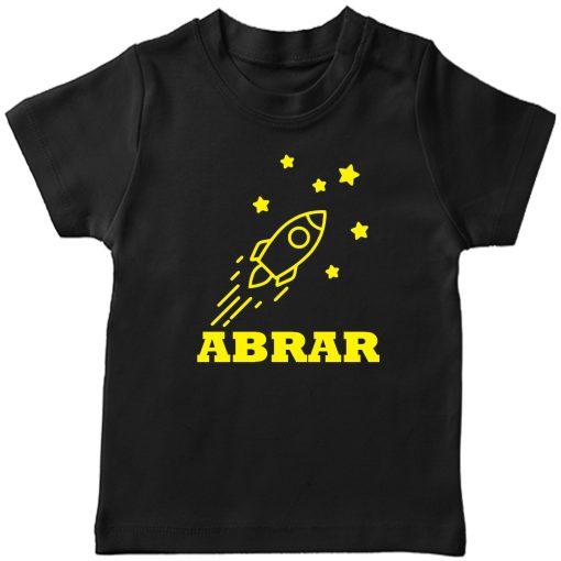 Space-Rocket-Customized-Name-T-Shirt-Black
