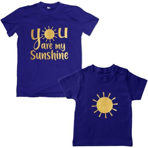 Sunshine-Mom-Daughter-Family-Combo-T-Shirt-Blue