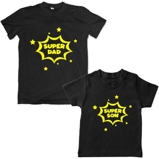 Super-Dad-Son-Family-Combo-T-Shirt-Black