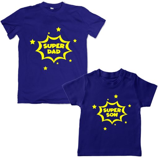 Super-Dad-Son-Family-Combo-T-Shirt-Blue