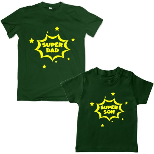 Super-Dad-Son-Family-Combo-T-Shirt-Green