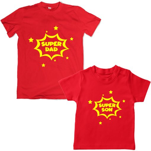 Super-Dad-Son-Family-Combo-T-Shirt-Red