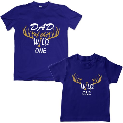 Wild-Dad-Son-Family-Combo-T-Shirt-Blue