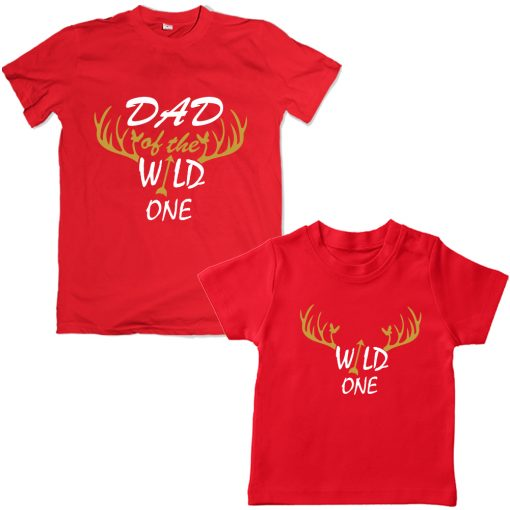 Wild-Dad-Son-Family-Combo-T-Shirt-Red