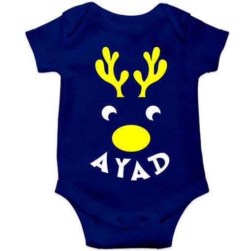 Deer-Christmas-Baby-Romper-Blue