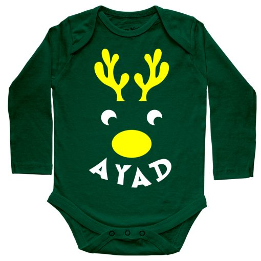 Deer-Christmas-Baby-Romper-Green--Full-Sleeve