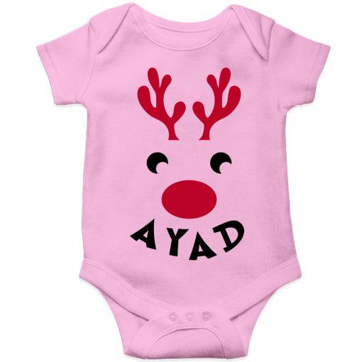 Deer-Christmas-Baby-Romper-Pink