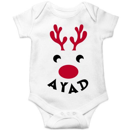 Deer-Christmas-Baby-Romper-White