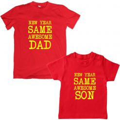 New-Year-Same-Awesome-Dad-Son-Combo-T-Shirt-Red