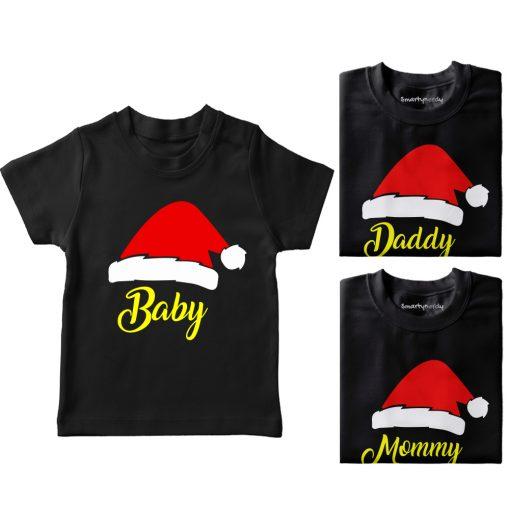 Santa-Claus-Hat-Family-Combo-Tees-Black