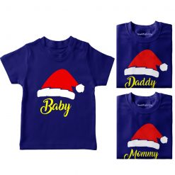 Santa-Claus-Hat-Family-Combo-Tees-Blue