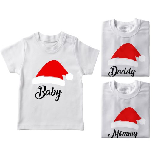 Santa-Claus-Hat-Family-Combo-Tees-White