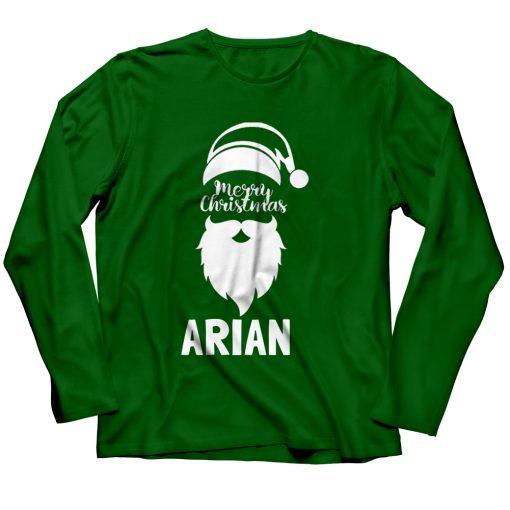 Santa-Merry-Christmas-T-Shirt-Green-Full-Sleeve