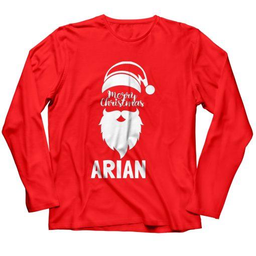 Santa-Merry-Christmas-T-Shirt-Red-full-sleeve