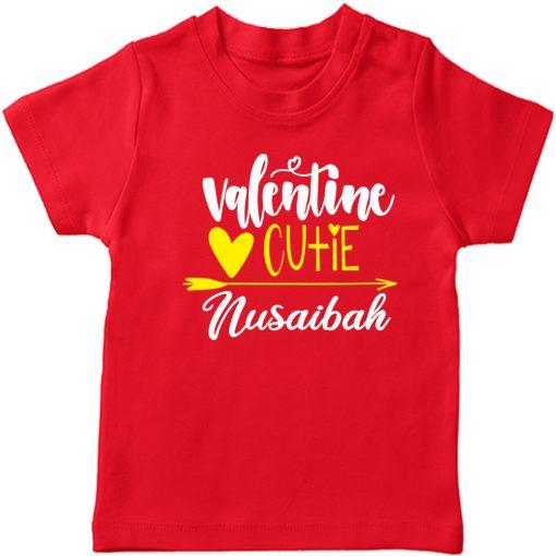 Valentines-Cutie-Customized-Name-Tee-Half-Sleeve-Red