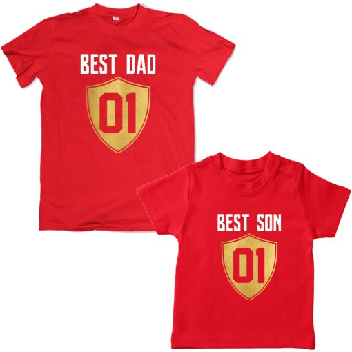 Best-Dad-Son-Unique-Combo-Tees-Red
