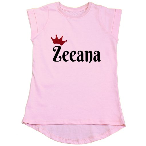 Customized-Name-with-Crown-Unique-Girls-T-Shirt-Pink