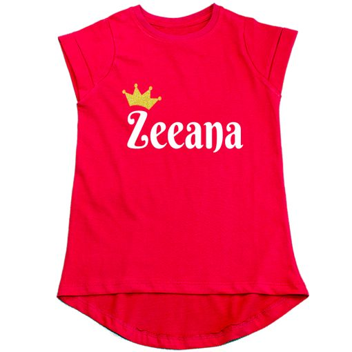 Customized-Name-with-Crown-Unique-Girls-T-Shirt-Red