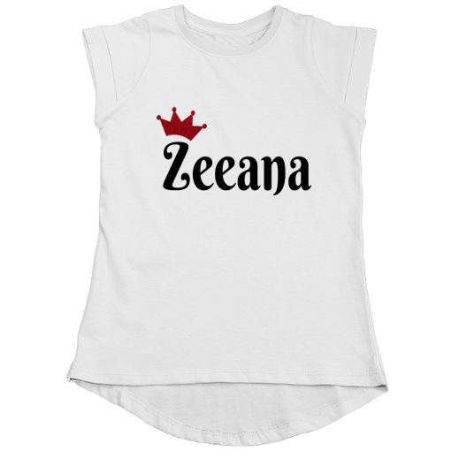 Customized-Name-with-Crown-Unique-Girls-T-Shirt-White