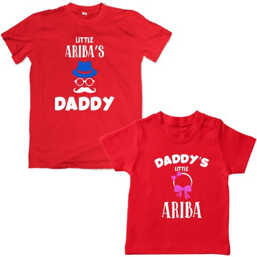 Dad-Daughter-Funky-Family-Combo-T-Shirt-Red