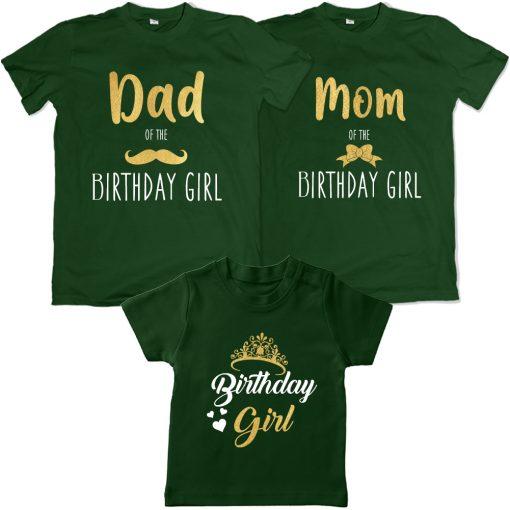 Dad-Mom-of-The-Birthday-Girl-T-Shirt-Green
