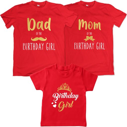 Dad-Mom-of-The-Birthday-Girl-T-Shirt-Red