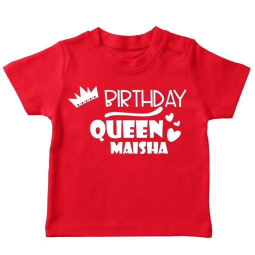 Birthday queen customized red Tshirt