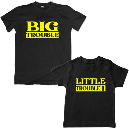 Trouble-Dad-Son-Family-Combo-Tshirt-Black
