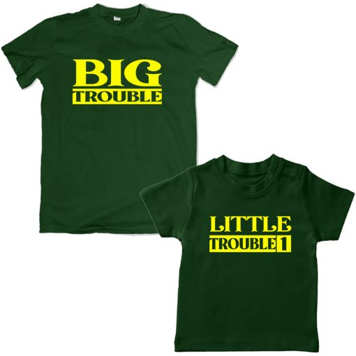 Trouble-Dad-Son-Family-Combo-Tshirt-Green