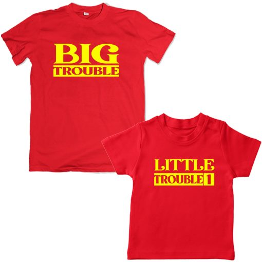 Trouble-Dad-Son-Family-Combo-Tshirt-Red