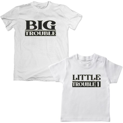 Trouble-Dad-Son-Family-Combo-Tshirt-White