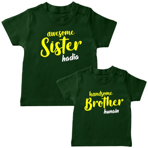 Awesome-&-Handsome-Brither-Sister-Siblings-Combo-T-Shirt-Green