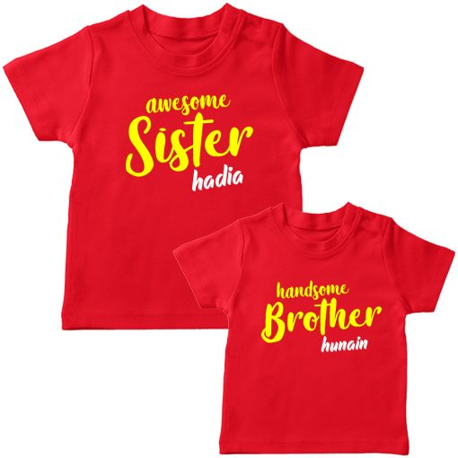 Awesome-&-Handsome-Brither-Sister-Siblings-Combo-T-Shirt-Red