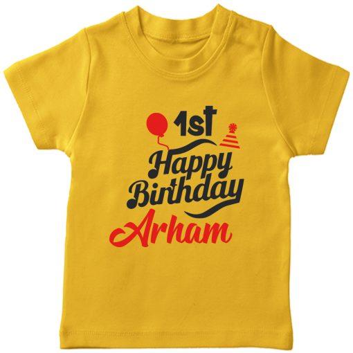 Birthday-Fabulous-T-Shirt-With-Customized-Name-Yellow