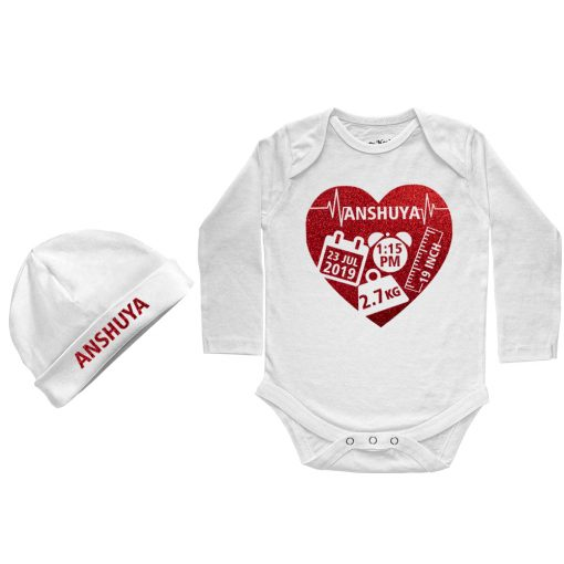 Heart-Shape-Birthfact-Full-Sleeve-Baby-Romper-White