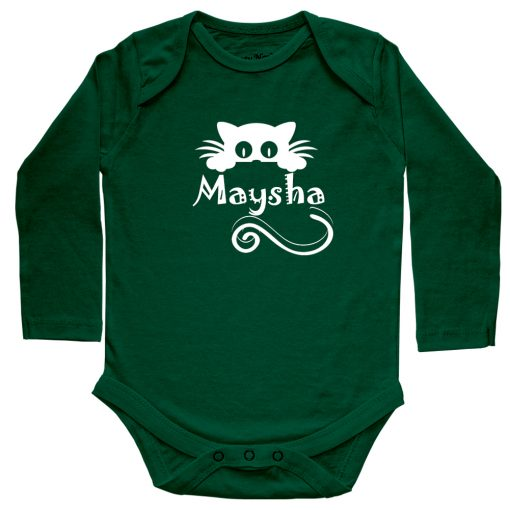 Kitty-Name-Customized-Baby-Romper-Green
