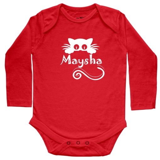 Kitty-Name-Customized-Baby-Romper-Red