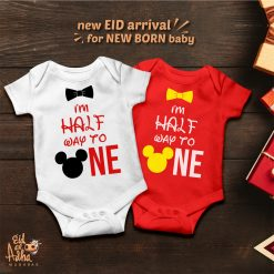 Mickey-Mouse-Half-Way-To-One-Baby-Romper-Content
