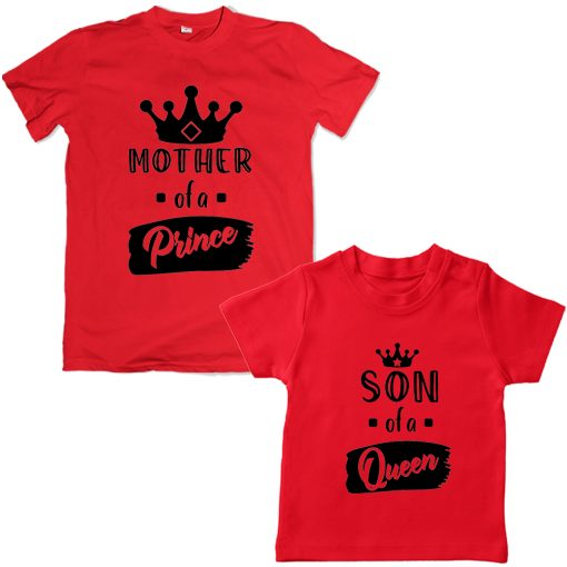 Queen-Mom-&-Prince-Son-Family-Combo-Tees-Red
