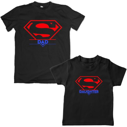 Super-Dad-And-Daughter-Family-Combo-T-Shirts-Black