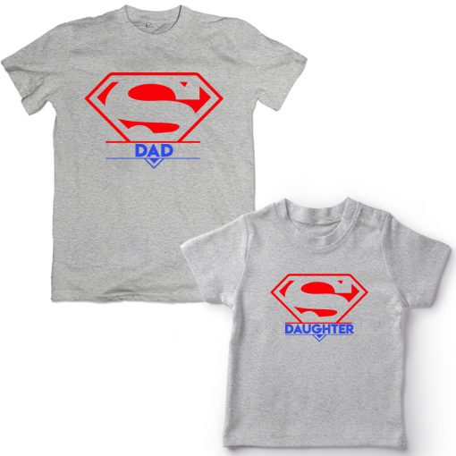 Super-Dad-And-Daughter-Family-Combo-T-Shirts-Grey