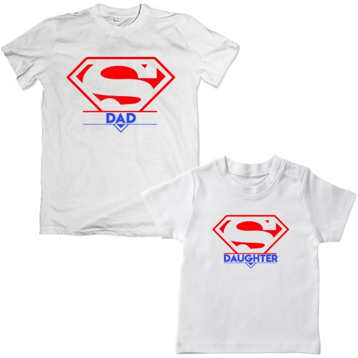 Super-Dad-And-Daughter-Family-Combo-T-Shirts-White