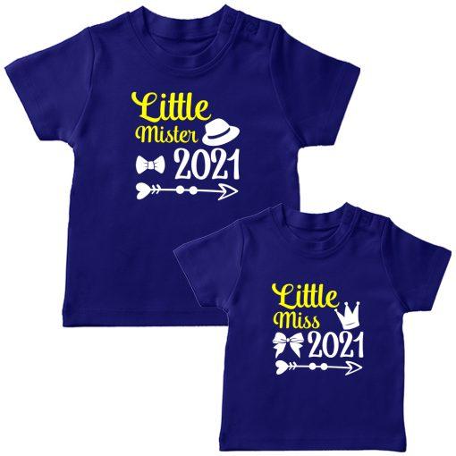 Little-Miss-&--Little-Mister-Siblings-Combo-T-Shirt-Blue
