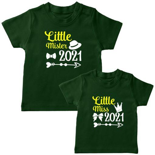 Little-Miss-&--Little-Mister-Siblings-Combo-T-Shirt-Green